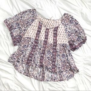 Free People patterned short sleeve blouse Sz L